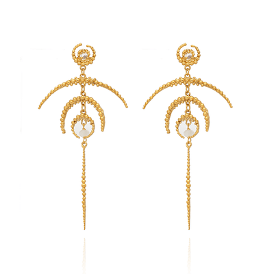 Crescent Moon & Moonstone Long Drop Gold Earrings