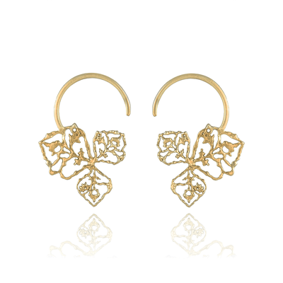 Triple Petal Gold Hoops