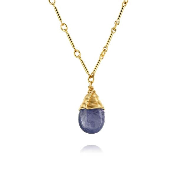 Pear Shaped Tanzanite Gold Link Necklace