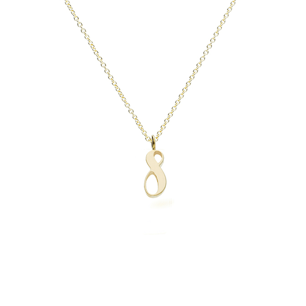 "Gold ""8""  pendant necklace"
