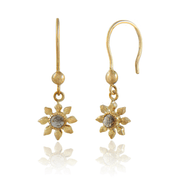 Diamond Flower Gold Hook Earrings