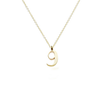 "EC One recycled Gold Number ""9"" charm pendant necklace"
