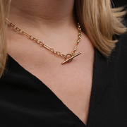 EC One 9ct recycled Yellow Gold T-Bar Necklace