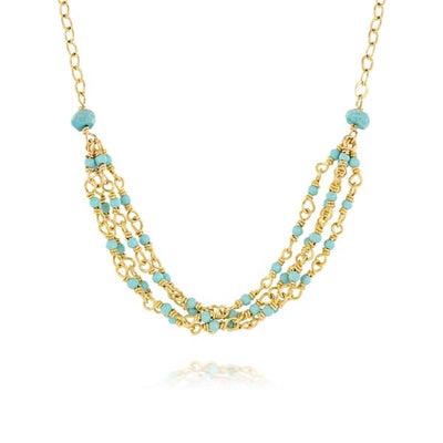 Turquoise Three Strand Gold Necklace