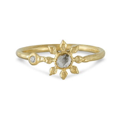 Grey Diamond Flower Ring