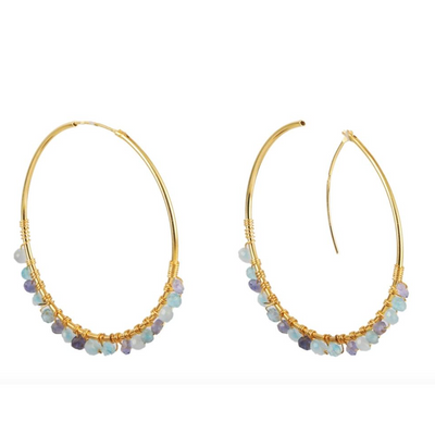 Pomegranate Adore Mixed Aquamarine Hoop Earrings