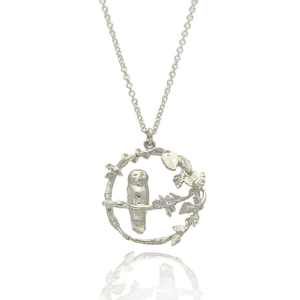 Alex Monroe for EC One LIMITED EDITION: Autumnal Forest Owl Loop Necklace Silver