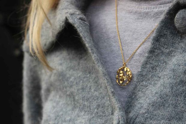 Alex Monroe for EC One LIMITED EDITION: Autumnal Forest Owl Loop Necklace Gold Plated