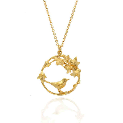 Alex Monroe for EC OneLIMITED EDITION: Winter Woodland Robin&Ivy Loop Necklace Gold Plated