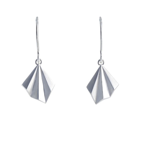 Alice Barnes Pleated Hook Silver Earrings