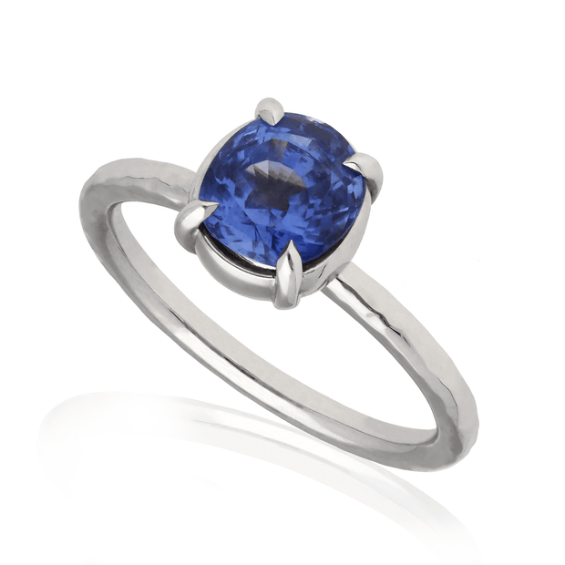 """Alice"" White Gold Engagement Ring with Oval Blue Sapphire"