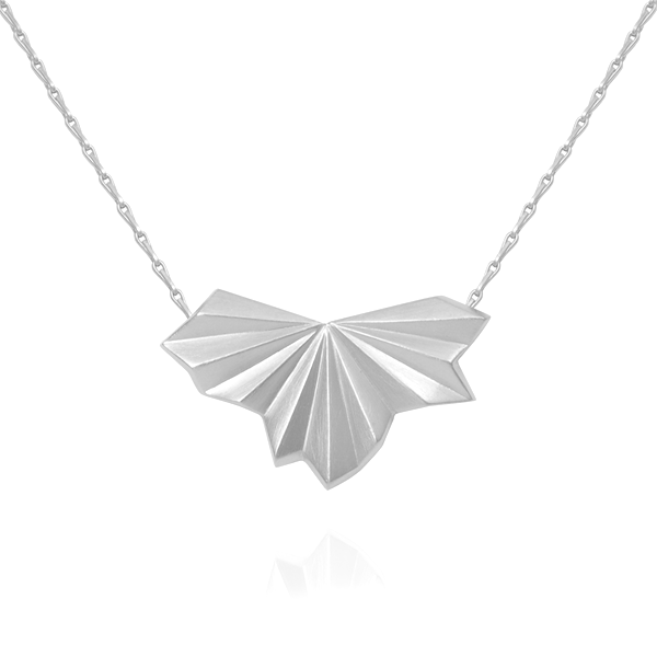 EC One Alice Barnes Pleated Fan Necklace Silver