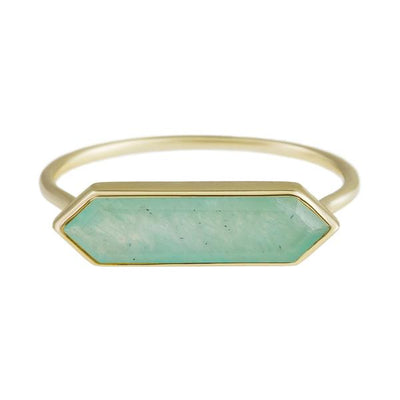 Gold Ring with Hexa Amazonite