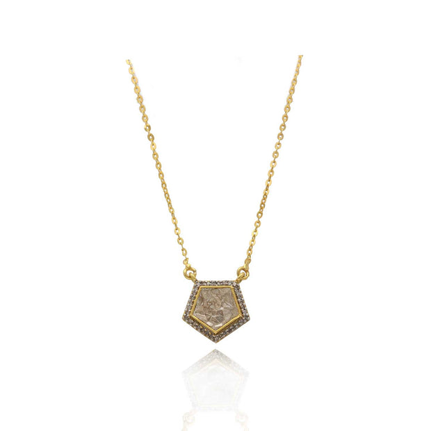 Shana Gulati Amer Pendant Necklace with Sliced Raw Diamond
