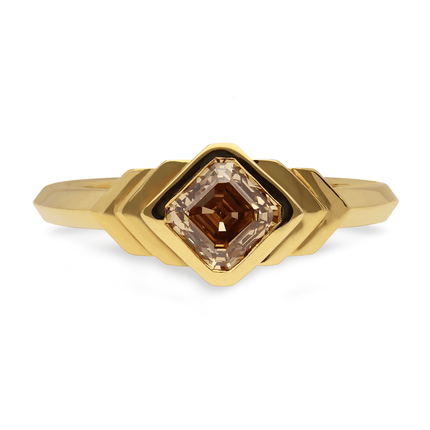 Feather Yellow Gold Asscher Cut Champagne Diamond Engagement Ring