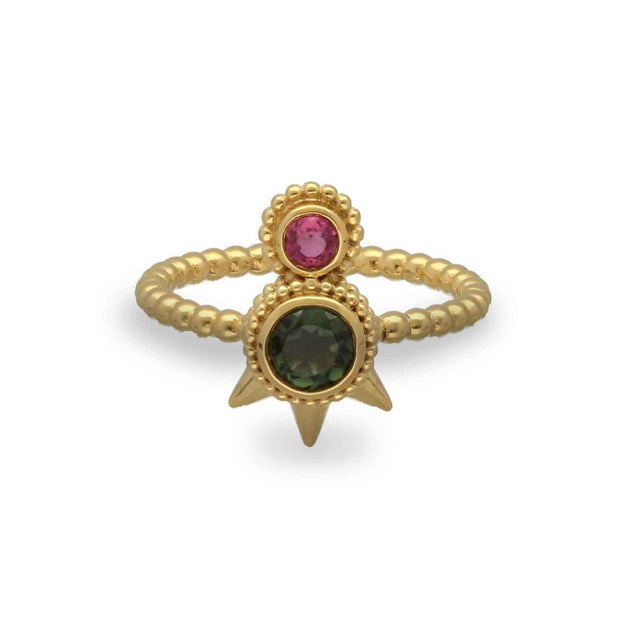Aurelie Dellasanta Green & Pink Tourmaline Spike Ringndant Necklace