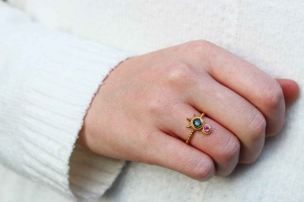 Green & Pink Tourmaline Spike Ring