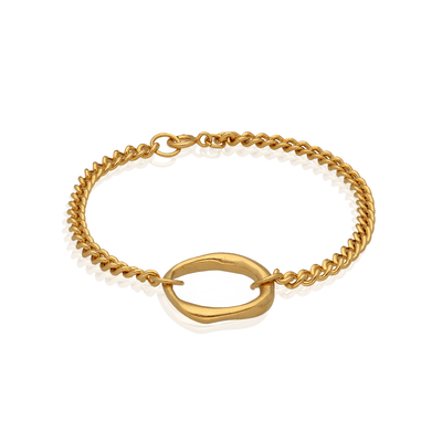 Chain and Link Bracelet Gold Plated