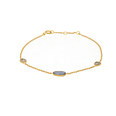 Blue Sapphire and Diamond Slice Gold Bracelet