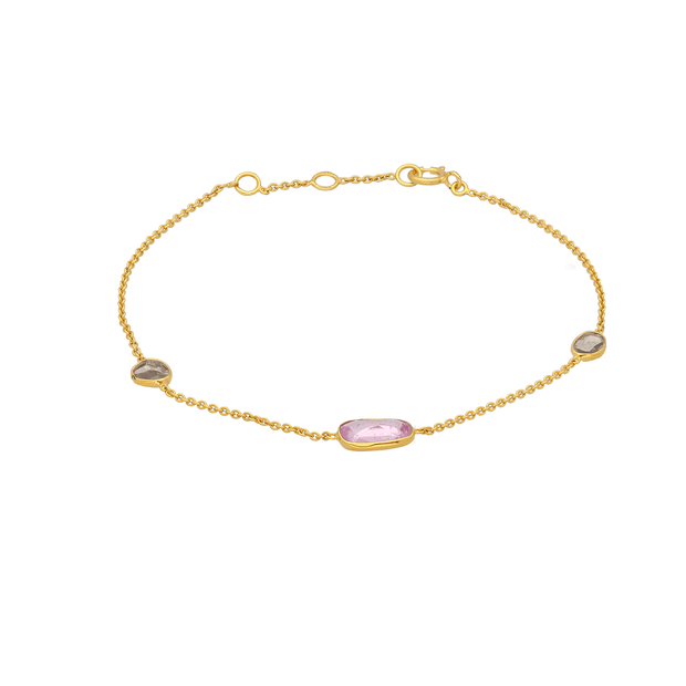 Pink Sapphire and Diamond Slice Gold Bracelet