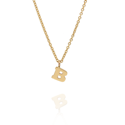 "Mini Letter ""B"" Initial Gold Necklace"