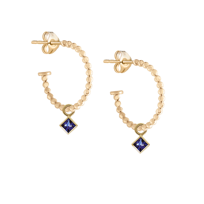 Metier Gold Beaded Hoops with Princess Blue Sapphires Pair