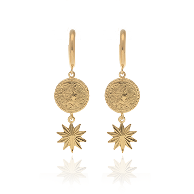 Coin Star Drop Earrings