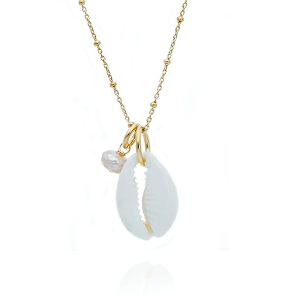 Charm Necklace with Shell and Facetted Pearl