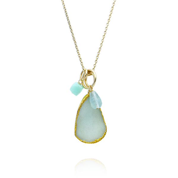 Charm Necklace with Mint Druzy, Aquamarine & Chrysophrase