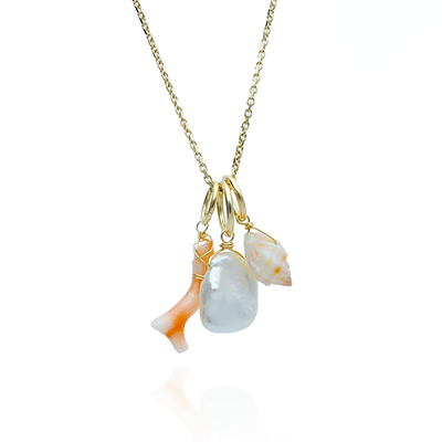 Charm Necklace with Shell, Coral and Pearl