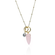 Charm Necklace with Grey Pearl and Rose Quartz