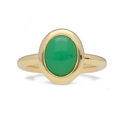 Gold North-South Chrysoprase Ring