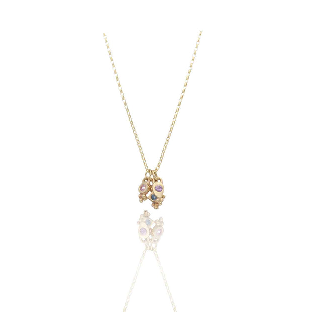 EC One Cece Gold Necklace with Cluster of Charms sapphire