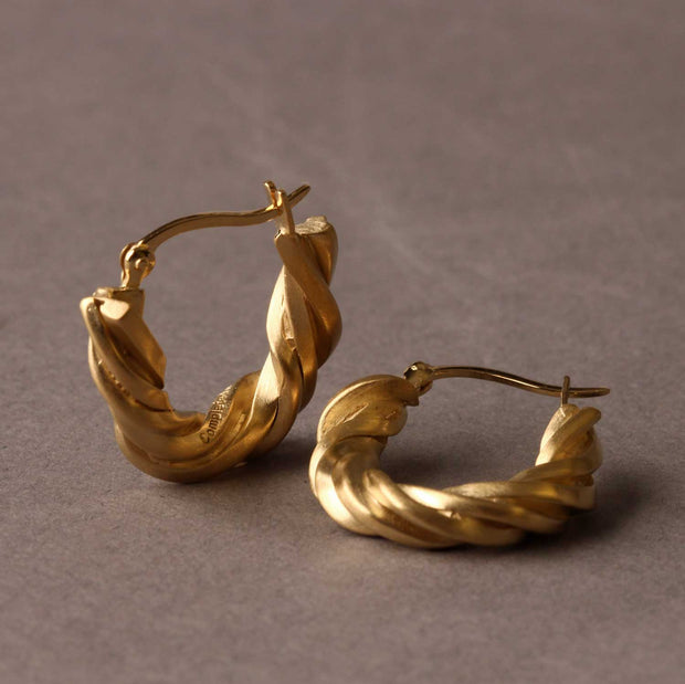 Completed Works at EC One Deep State Hoop Earrings Gold Plated recycled silver