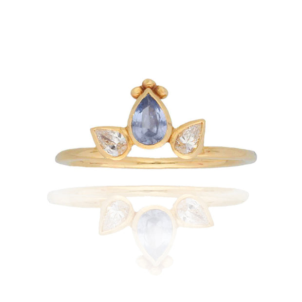 EC One Cece Crown Gold Ring with Sapphire & Diamonds