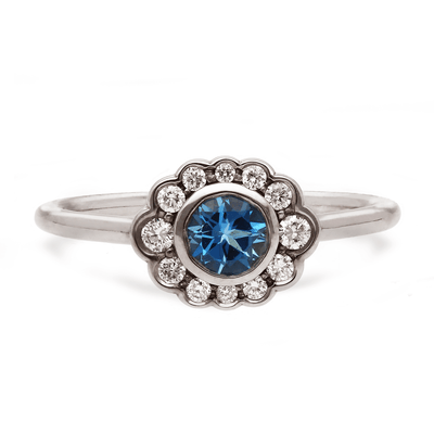 'Dainty' Aquamarine and Diamond White Gold Ring