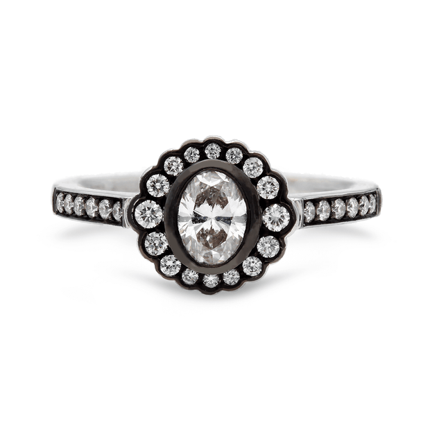 """Dainty"" Oval Diamond Halo Ring"