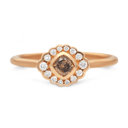 'Dainty' Cushion Cut Cognac Diamond Rose Gold Ring