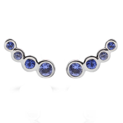 Dainty White Gold and Blue Sapphire Stud Earrings