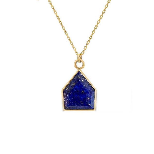 Gold Chain Necklace with Lapis Maison Pendant by Metier