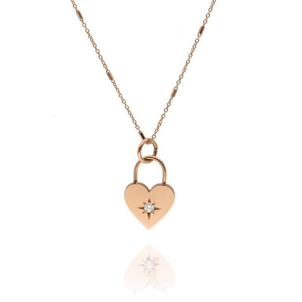 Gold Star-Set Diamond Heart Padlock Necklace