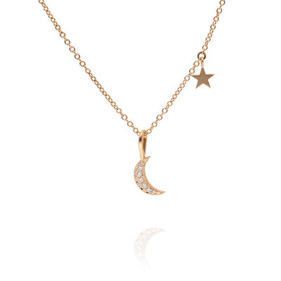 Diamond Crescent Moon and star Gold Necklace