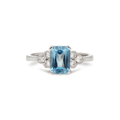 """Doris"" Aquamarine Diamond Ring"