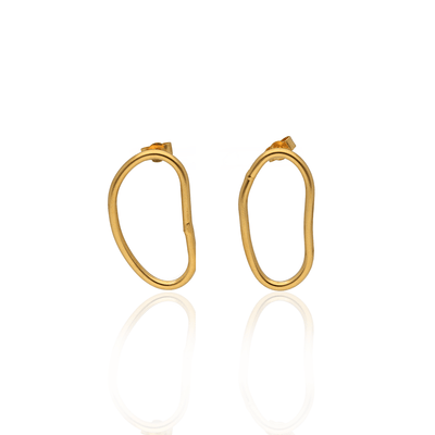 Oval Shape Studs Gold Plated