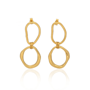 Mixed Double Shape Link Earrings Gold Plated
