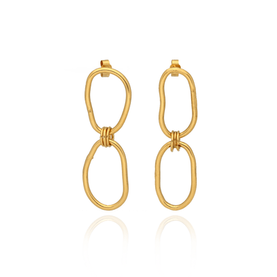 Oval Double Chain Link Earrings Gold Plated