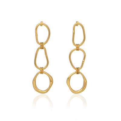 Triple Shape Link Earrings Gold Plated