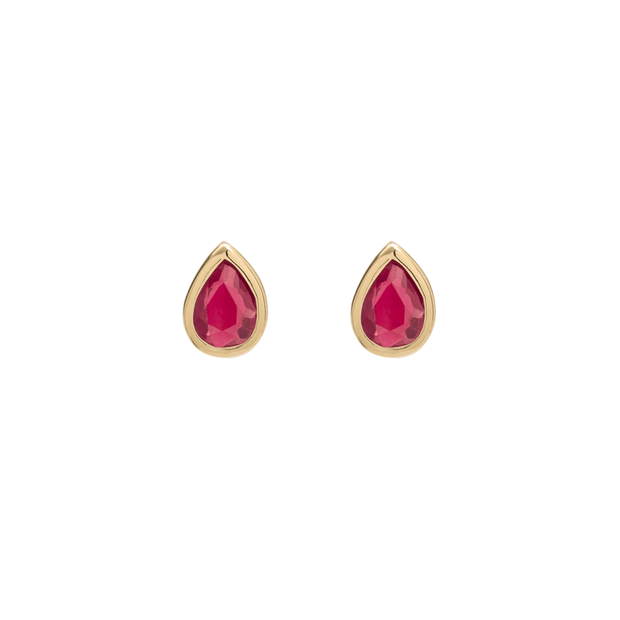 EC One Metier Pear Ruby Gold Studs Pair
