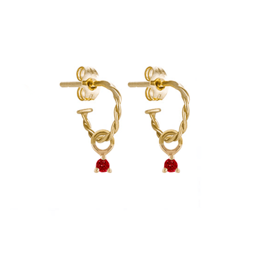 EC One Metier Twisted Gold Hoops with tiny Ruby Drops Pair