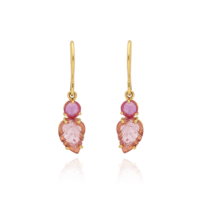 Carved Pink Tourmaline and Pink Sapphire Gold Earrings